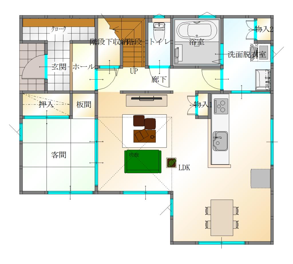 羽田E棟1階平面図|女性建築士が考えた共働き夫婦応援住宅1月26日㈯販売開始|大分の坂井建設 プレスリリース