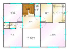 羽田E棟2階平面図|女性建築士が考えた共働き夫婦応援住宅1月26日㈯販売開始|大分の坂井建設 プレスリリース